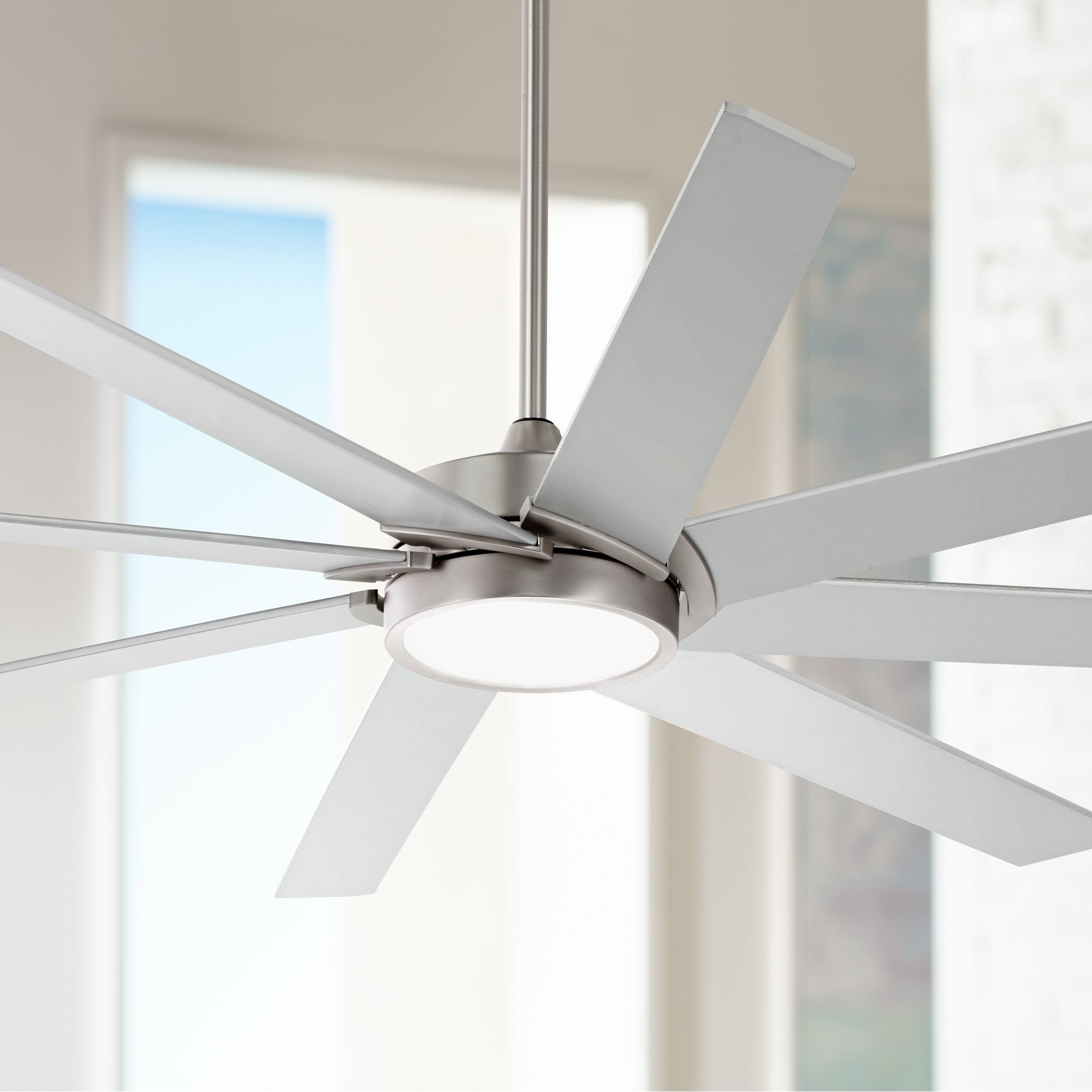 """65"""" Possini Euro Design Modern Ceiling Fan with Light LED Dimmable Remote Control Brushed Steel for Living Room Kitchen Bedroom"""