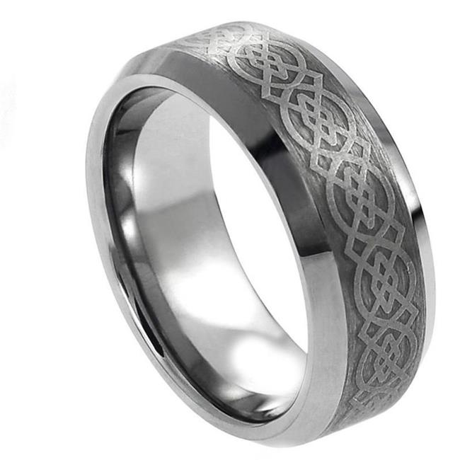 TK Rings 228TR-8mmx15.0 8 mm Laser Engraved Celtic Pattern Tungsten Ring - Size 15 - image 1 de 1