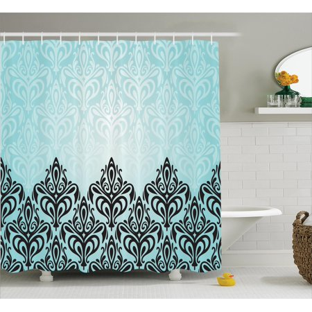 Damask Shower Curtain Set Modern Motif With Symmetric Lines Artsy Royal Baby Color Bold