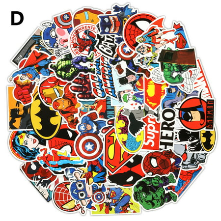 Magicfly 100 PCS Marvel Heroes Bumper Sticker PVC Material Fit for Laptops, Macbook, Skateboards, Luggage, Cars, Bikes, Bicycles](Monogram Stickers For Laptops)