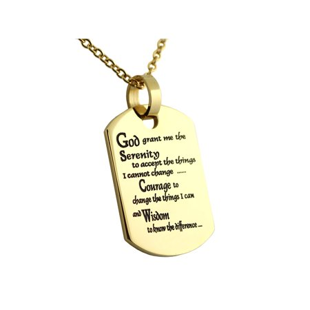Serenity Prayer Dog Tag Gold Colored Ion Plated Pendant