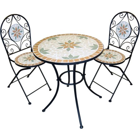Alpine Metal 3-Piece Mosaic Bistro Set, 1 Table and 2 Chairs, 32 Inch Tall