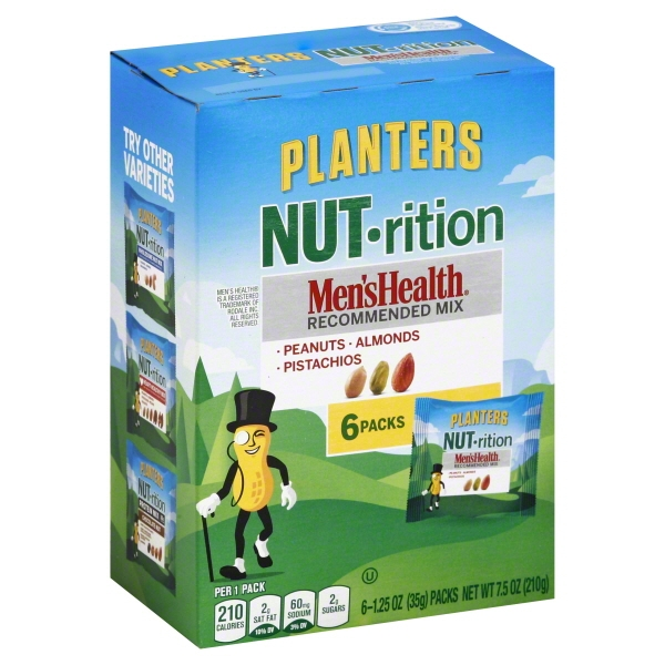Planters NUT-rition Men's Health Recommended Nut Mix, 1.25 oz, 6 ct