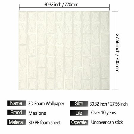 10pcs peel and stick 3d wall panels white brick wallpaper wall decal wall accent tv walls - 32 inch wallpaper tv ...