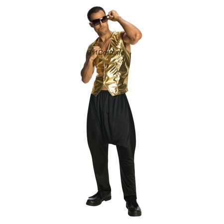 Gold Lame Vest MC Hammer Old School Rapper 1980s 1990s Unisex Costume 9059