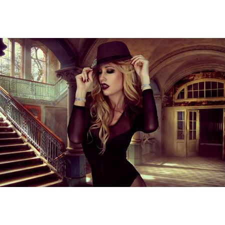 Canvas Print Hat Style Woman Glamour Portrait Stretched Canvas 10 x 14
