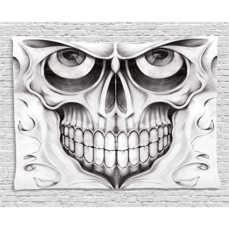 Day Of The Dead Decor (Day Of The Dead Decor Tapestry, Scary Skull Face Angry Expression Festive Art Image, Wall Hanging for Bedroom Living Room Dorm Decor, 60W X 40L Inches, Black White and Light)