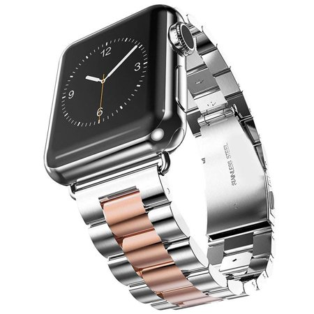 Stylish Stainless Steel Replacement Strap Silver+Rose Gold Watch Band for 38mm Apple Watch Series 3/2/1 - Gold Stainless Steel Strap