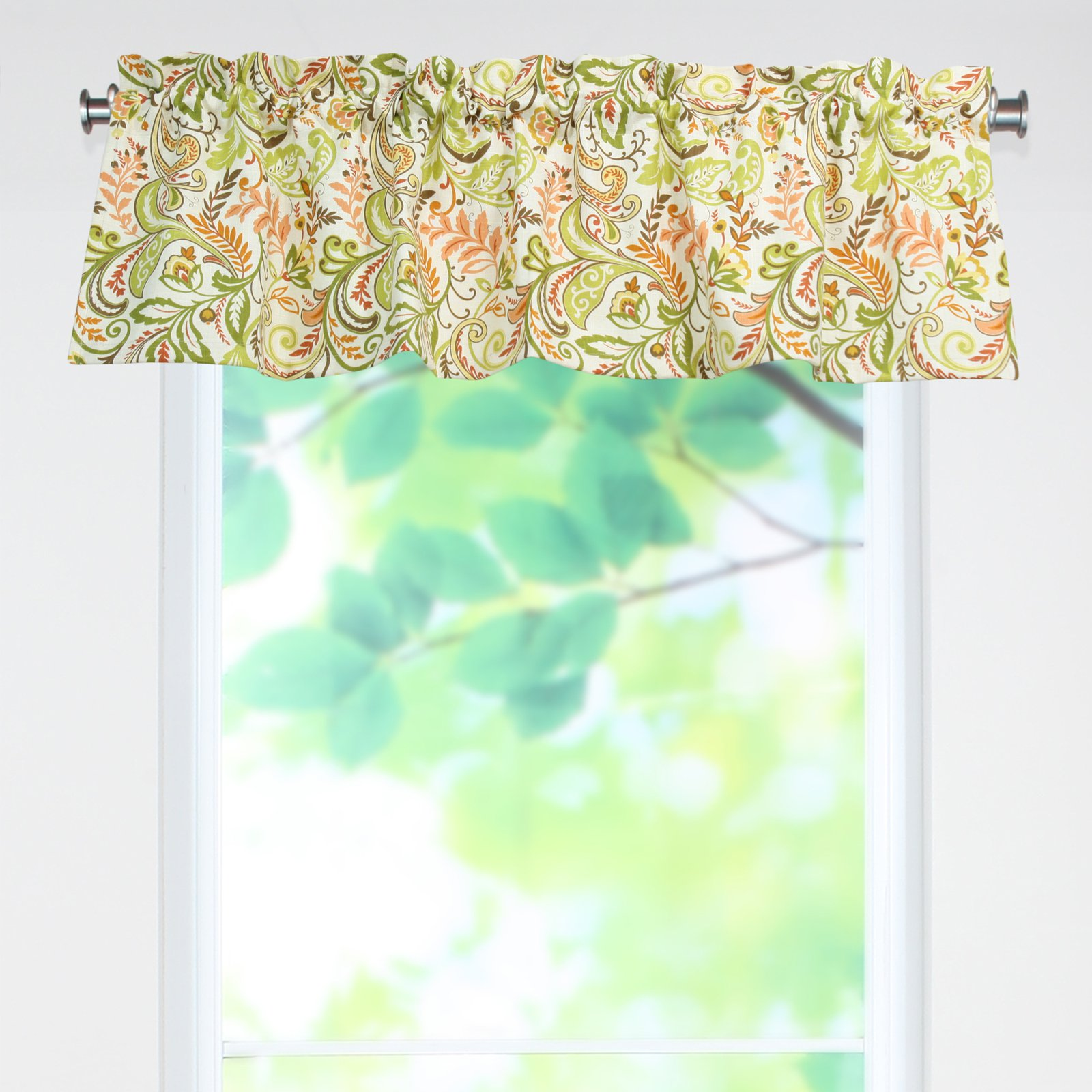 Brite Ideas Living Findlay Apricot Rod Pocket Curtain Valance