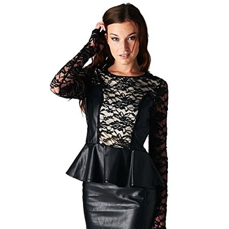 Esley Sexy Black Leatherette Long Sleeve Floral Lace Peplum Blouse