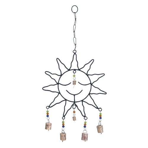 Captivating Metal Sun Face Wind Chime With Optimum Chain Link by Benzara
