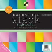 "Cardstock Stack 12"" x 12"", 48/Pkg, Bright Metallics with White Core"