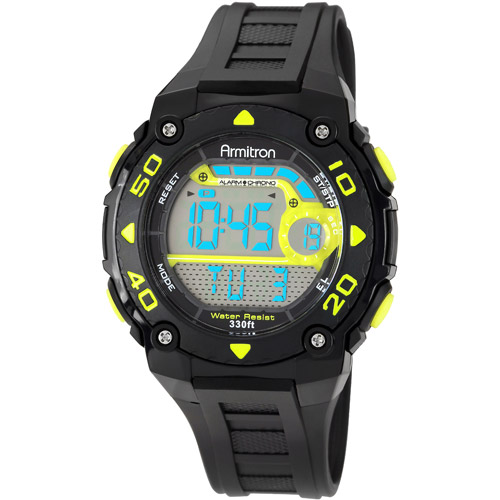 Armitron Men's Digital Chronograph Sport Watch, Black Strap
