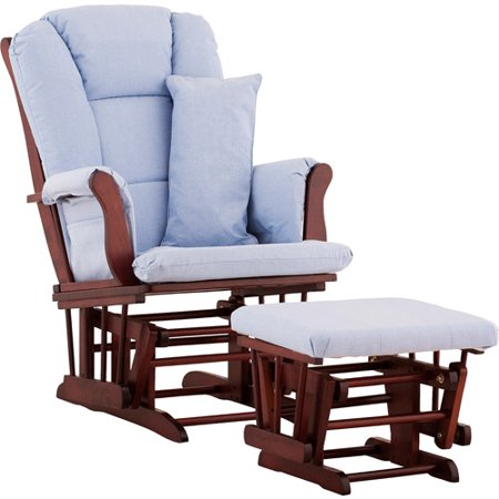 Storkcraft Tuscany Glider and Ottoman with Lumbar Pillow Cherry Finish and Blue...