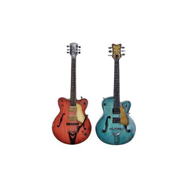 Benzara 51876 Metal Guitar 2 Assorted 35 inch H  14 inch W Wall Decor