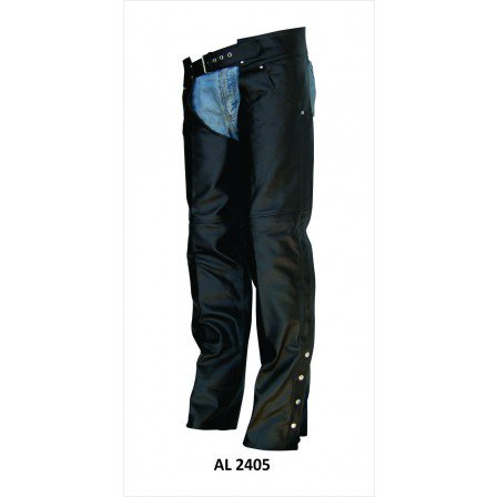 Men's Bike Large Size 2 Front Jean Style Pockets Plain Split Lined Cowhide Leather Chaps Braided Chaps Cowhide Leather