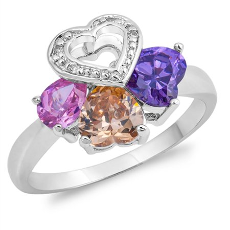 Multicolor Simulated CZ Heart Teardrop Flower Ring ( Sizes 5 6 7 8 9 ) New 925 Sterling Silver Band Rings by Sac Silver (Size 9)