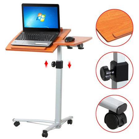 Yaheetech Adjule Wood Overbed Laptop Computer Table Desk Stand Carts On Wheels