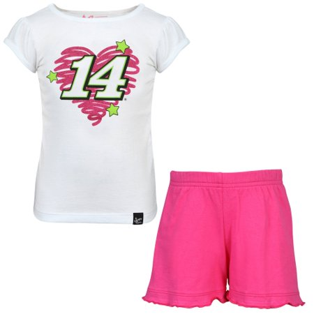 Chase Authentics Tony Stewart Toddler Girls Fun Power T-Shirt and Shorts Set - White/Pink - Tony Stewart Halloween