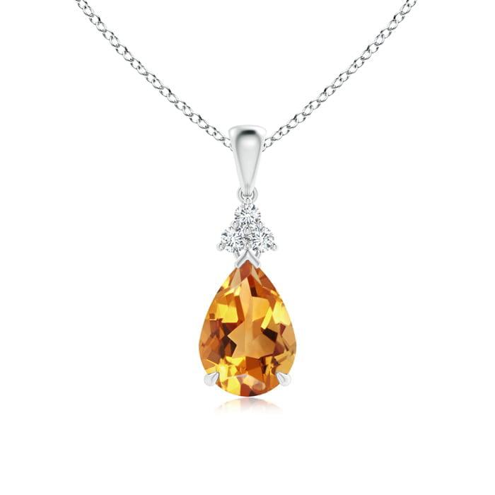 Angara Claw-Set Citrine Drop Pendant with Trio Diamonds 5H5eA3J