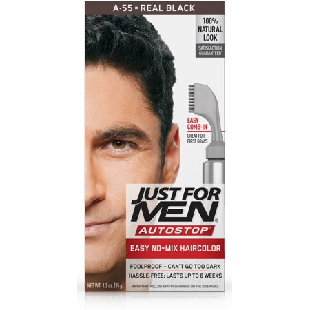 Just For Men AutoStop, Easy No Mix Men's Hair Color with Comb-In Applicator, Real Black, Shade A-55 - Halloween Hair Dye