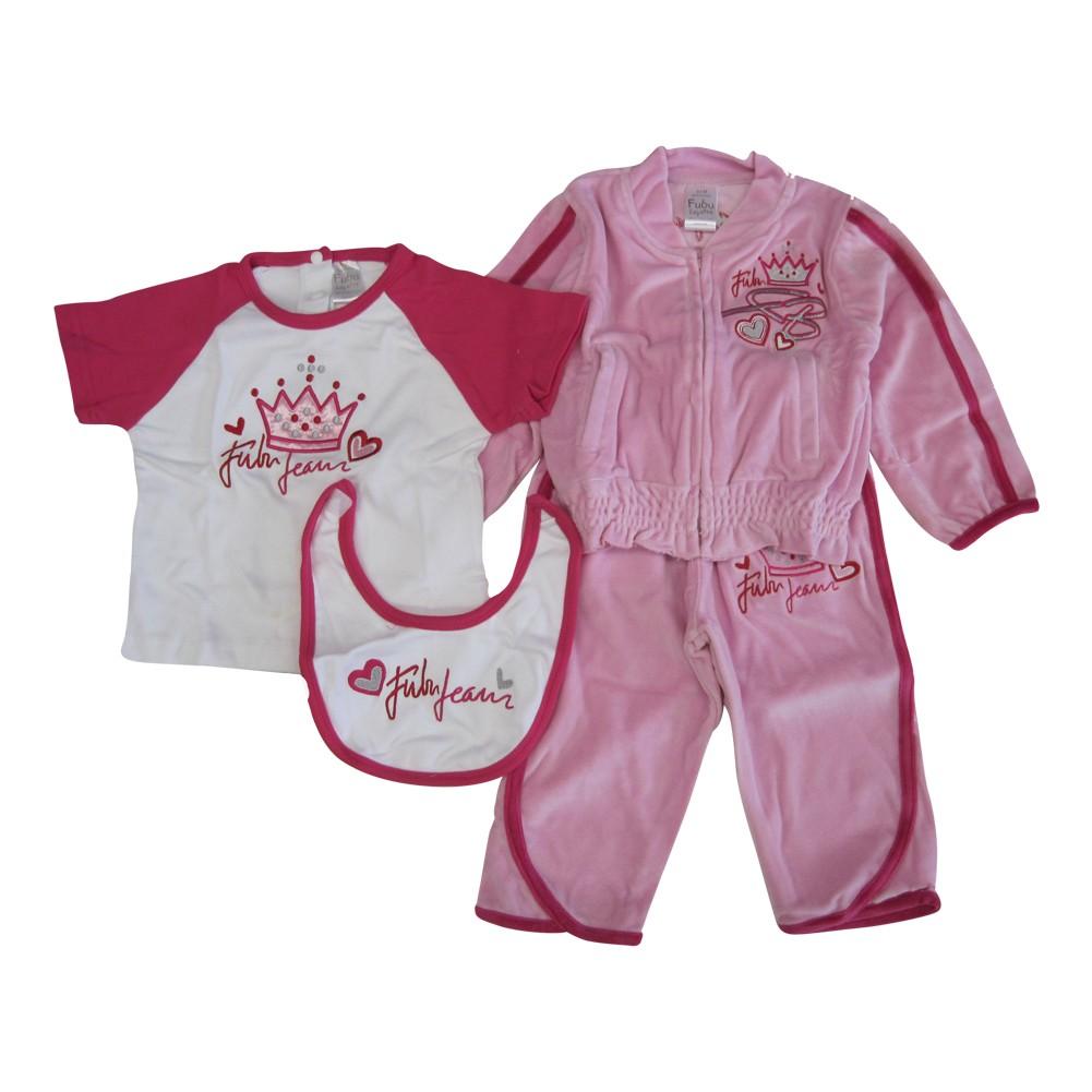 FUBU Baby Girls Pink Crown Heart Applique Tracksuit Bib Shirt 4 Pc Set 12-24M