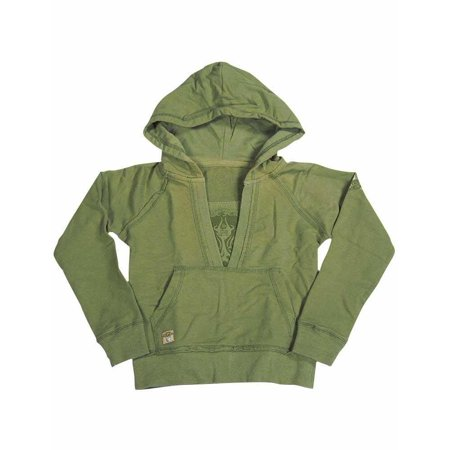 Jade - Little Girls Hooded Ribbed Sweatshirt GREEN / 4