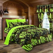 Lime Camouflage King Size 8pc Comforter, Sheet, Pillowcases, and Bed Skirt Set - Camo Bedding Sheet Set For Hunters Teens Boys and Girls