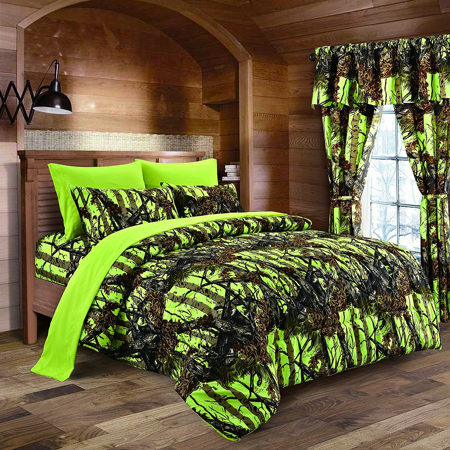 Regal Comfort 8pc Full Size Woods Lime Green Camouflage Premium Comforter, Sheet, Pillowcases, and Bed Skirt Set Camo Bedding Set For Hunters Cabin or Rustic Lodge Teens Boys and Girls