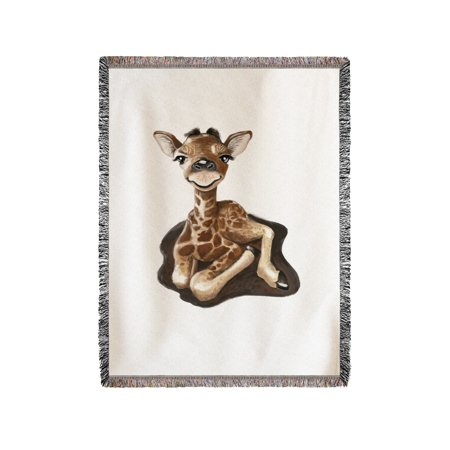 Chenille Giraffe - Baby Giraffe - Lantern Press Artwork (60x80 Woven Chenille Yarn Blanket)
