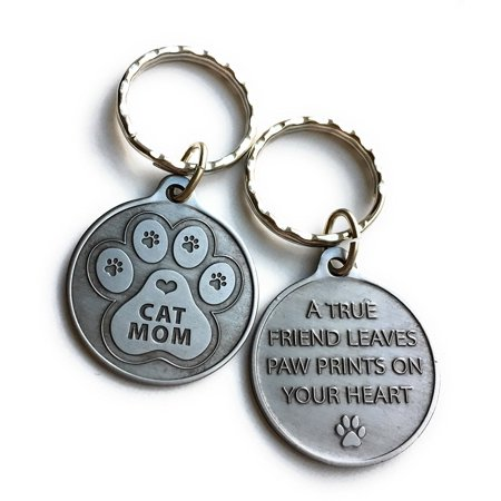 - Cat Mom - A True Friend Leaves Paw Prints On Your Heart Keychain Pewter Color