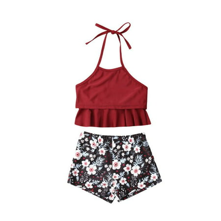 Junior Girls Swimwear - Family Matching Mother Girl Bikini Set Halter Floral Ruffle High Waisted Swimwear Bathing Suit