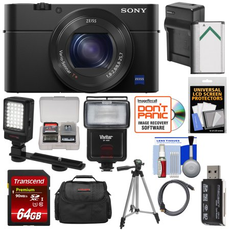 Sony Cyber-Shot DSC-RX100 IV 4K Wi-Fi Digital Camera with 64GB Card + Battery + Charger + Case + Tripod + Flash + LED Video Light +