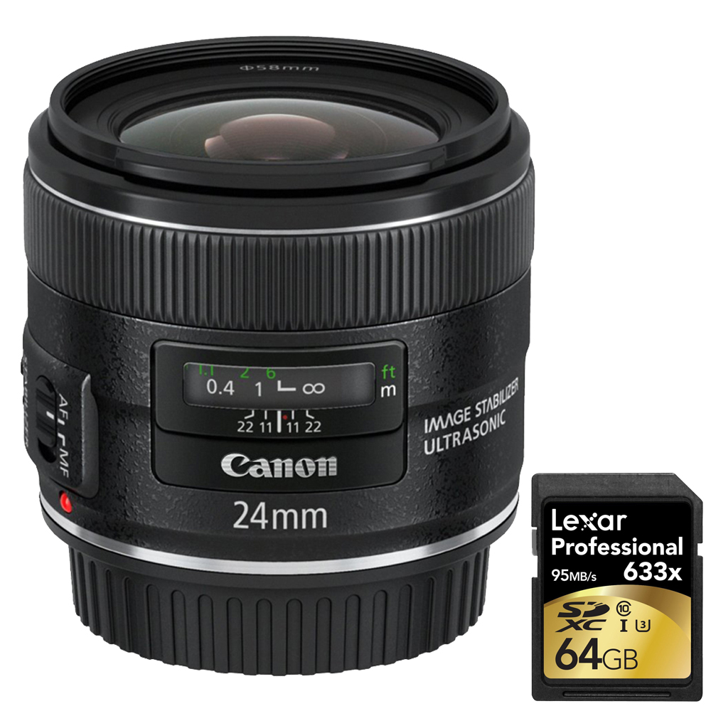 Canon EF 24mm f 2.8 IS USM (5345B002) with Lexar 64GB Professional 633x SDXC Class 10 UHS-I U3 Memory Card Up to 95 Mb s by Canon