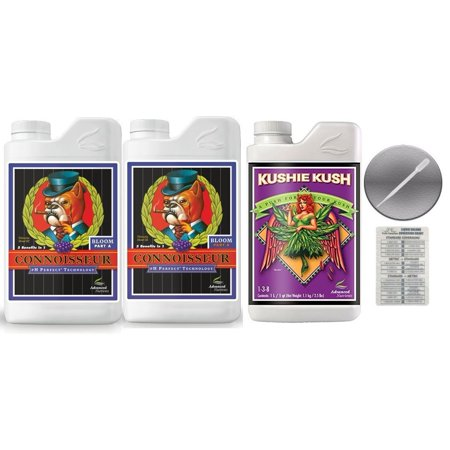 Advanced Nutrients Connoisseur Bloom A & B 4 Liter & Kushie Kush 1 Liter Bundle with  Conversion Chart and 3mL