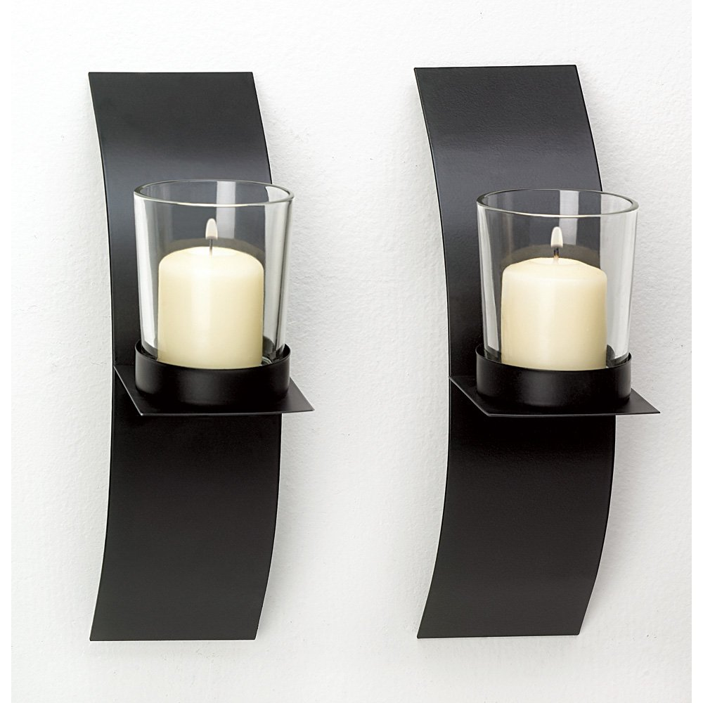Sconces Candle, Modern Black Wall Sconce Candle Holder Set Bedroom Bathroom by Gallery of Light