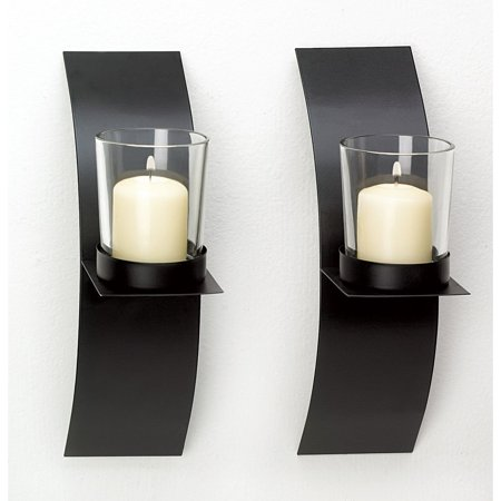 Sconces Candle, Modern Black Wall Sconce Candle Holder Set Bedroom Bathroom ()