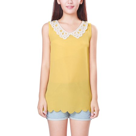 Scalloped Trim Top (Unique Bargains Women's Sleeveless Top with Scalloped Trim Yellow (Size S / 4) )