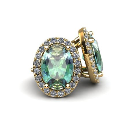1 1/2 Carat Oval Shape Green Amethyst and Halo Diamond Stud Earrings In 10 Karat Yellow Gold