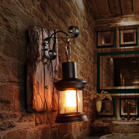 Aimeeli Single Head Industrial Vintage Retro Wooden Metal Painting Color Wall Lamp For The Home Hotel Cafe Corridor Decorate Wall Light