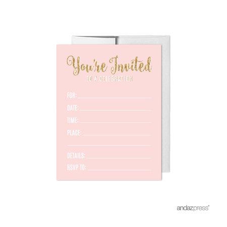 Signature Blush Pink, White, Gold Glittering Party Collection, Invitations with Envelopes, 20-Pack ()