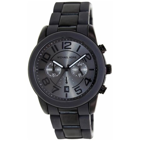 07b26fb630be Michael Kors - MK8322 Men s Mercer Black IP Steel   Gunmetal Silicone  Bracelet Chrono Watch - Walmart.com