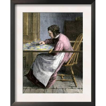 Woman Stitching a Patchwork Quilt, 1800s Framed Art Print Wall Art ...