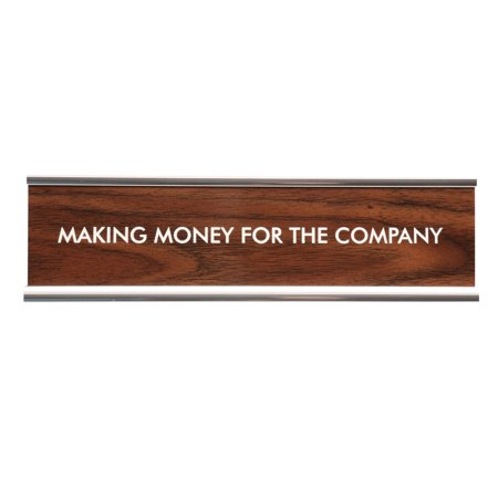 Desk Name Plate Classic Faux Wood Chrome Holder Making Money For The Company