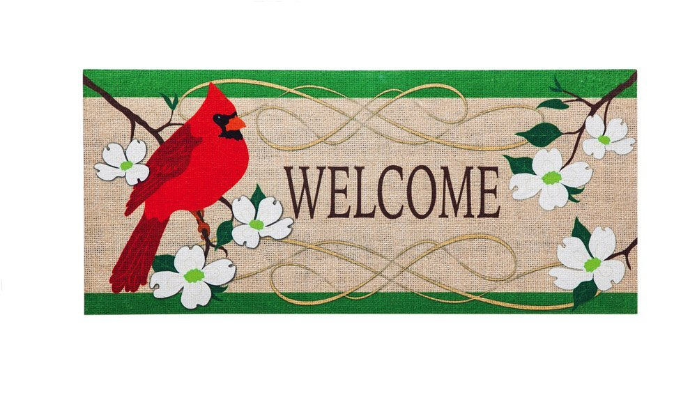 Cardinal Welcome Decorative Floor Mat Insert, 10 X 22 Inches, Welcome  Guests To Your