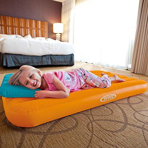 Intex Cozy Kidz Inflatable Air Bed w/ Contrasting Color Pillow (Orange/Blue)