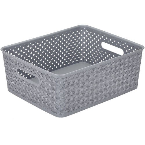 Simplify Medium Resin Wicker Storage Tote Basket Weave   Walmart.com