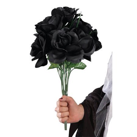 Halloween Decoration Accessory Dead Black Roses Bouquet (Halloween Perruque Rose)