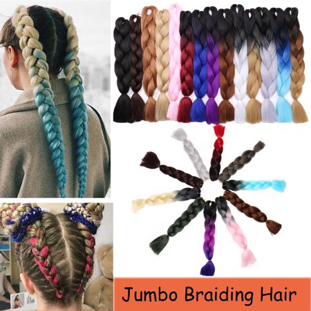 S-noilite 24 Inches Braiding Hair Ombre for crochet Hair Weave with Synthetic and Twist Braiding Hair Extensions dark blue/light (Hair Braided To The Side With Weave)