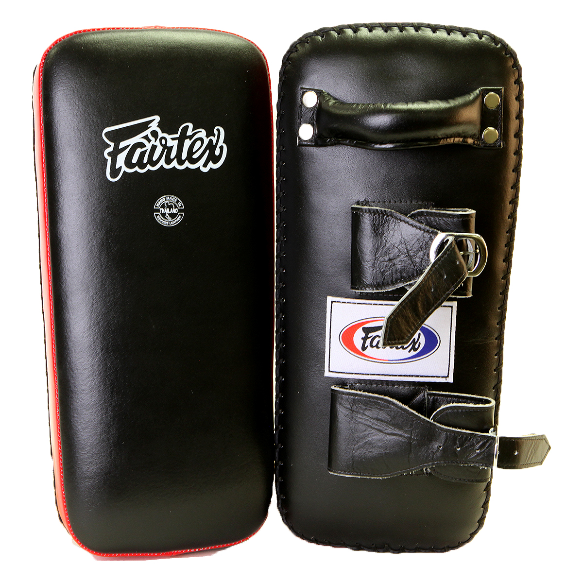 Fairtex Extra Thick Thai Kick Pads with Buckle - Black/Red